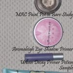 Comparison of Too Faced Shadow Insurance, Urban Decay Primer Potion, Aromaleigh Eye Shadow Primer, and Mac Paint Pot