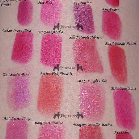 Bright Pink / Magenta / Fuchsia Lipstick swatches