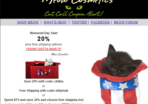 Meow's Memorial Day Sale!