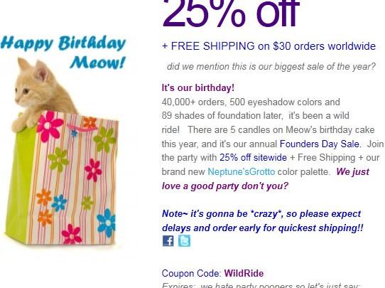 Happy Birthday Meow Cosmetics!
