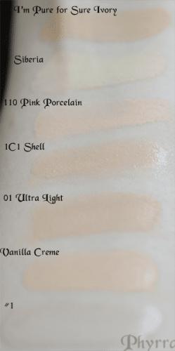 Liquid Foundation Swatch Comparisons