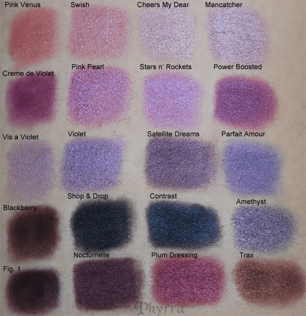 MAC Purples, Plums and Pinks Eyeshadow swatches