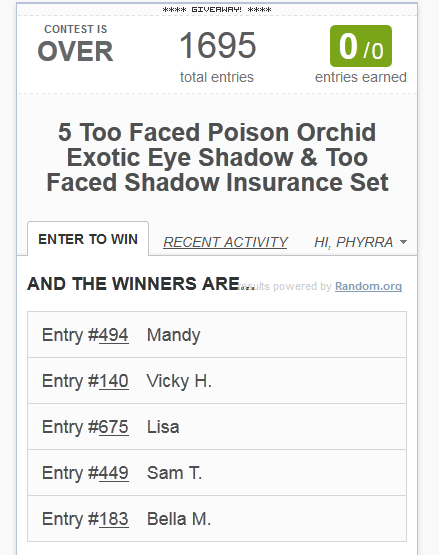 Too Faced Poison Orchid Sweepsakes Winners