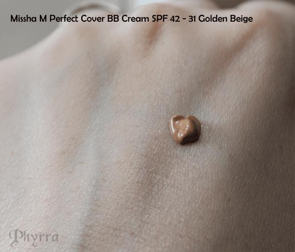 Missha M Perfect Cover BB Cream SPF 42 Shade 31 Golden Beige Swatch