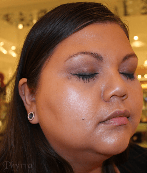 Judi's taupe eyes and dark teal liner