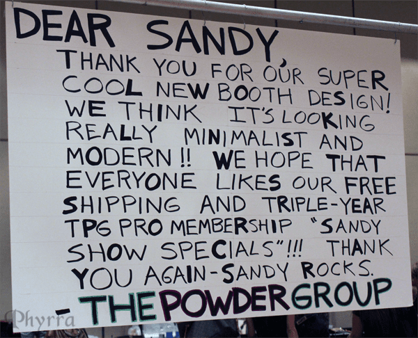 Powder Group Sign for Sandy
