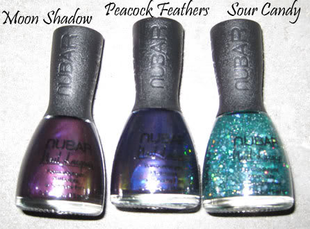 Nubar Peacock Feathers, Moon Shadow & Sour Candy