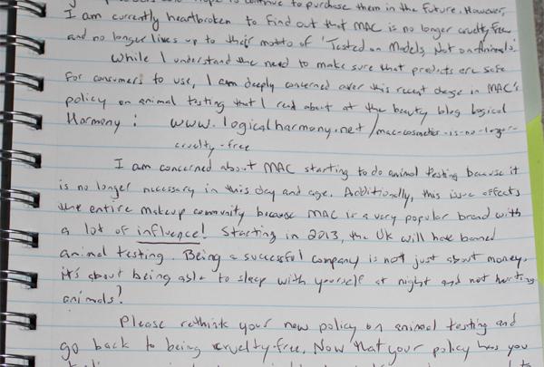 Handwritten Letter to MAC