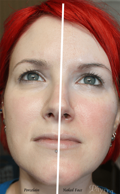 I have Shade 0 Porcelain on the left side of the picture (my right side). On the right side of the picture my face is naked.