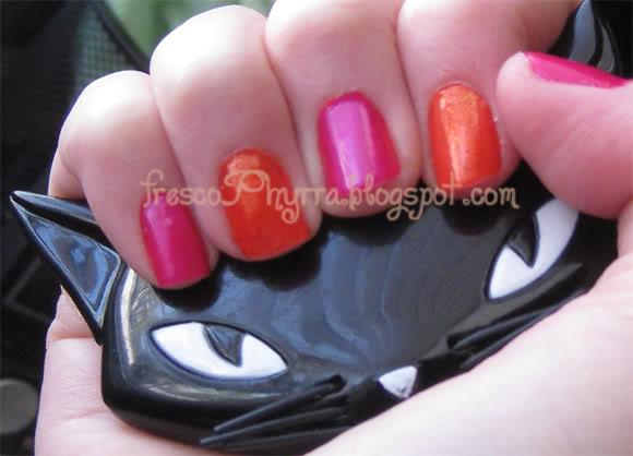 Pink + Orange Nails