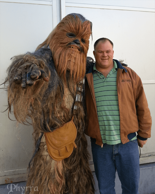 Matthew with a wookie