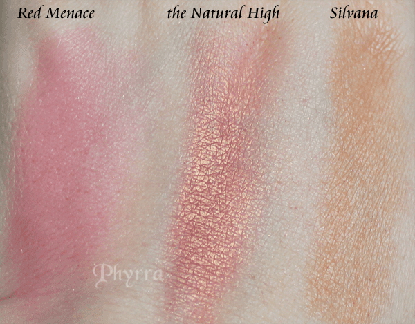 bareMinerals the Natural High, NARS Silvana, Pumpkin & Poppy Red Menace blush swatches
