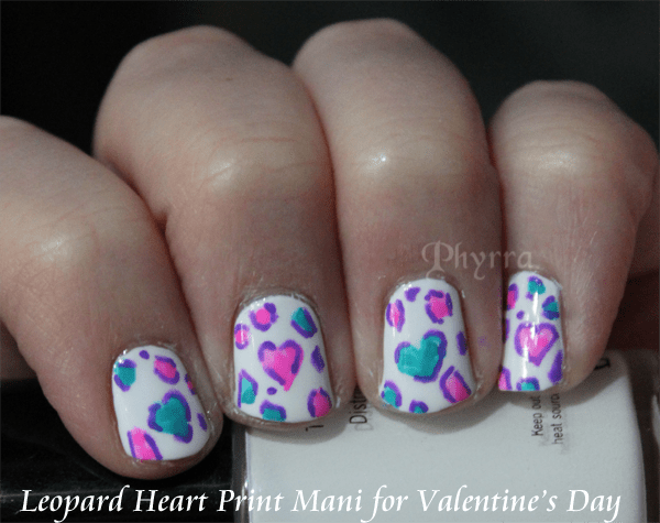 Valentine's Day Leopard Heart Print Mani