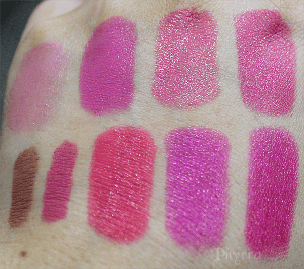 Milani Pink Frost, Rose Amour, Fruit Punch, Hot Pink Rage, All Natural, Haute Pink, Flamingo Pose, Rose Hip, Flirty Fuchsia