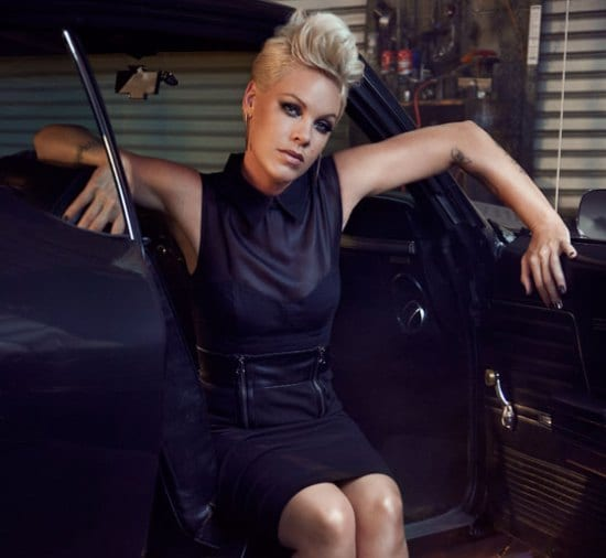 Pink's sexy pompadour hair