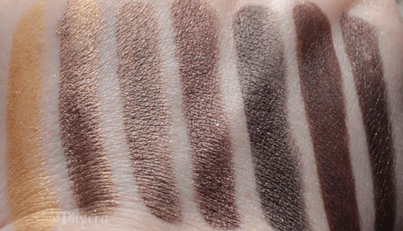 Urban Decay Goldmine, Scorch, Smog, Roach, Corrupt, Whiskey, Hustle, Swatches, Comparison