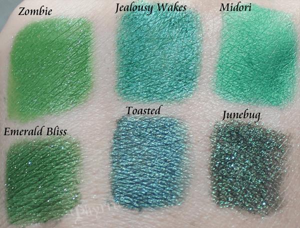 Emerald Green Eyeshadow Swatches