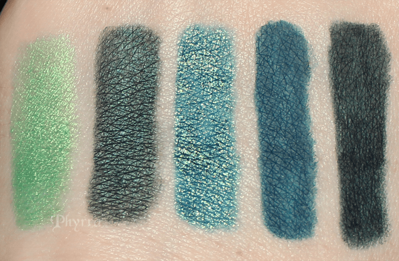 Urban Decay Freak, Loaded, Junkie, Mainline, Invasion Swatches