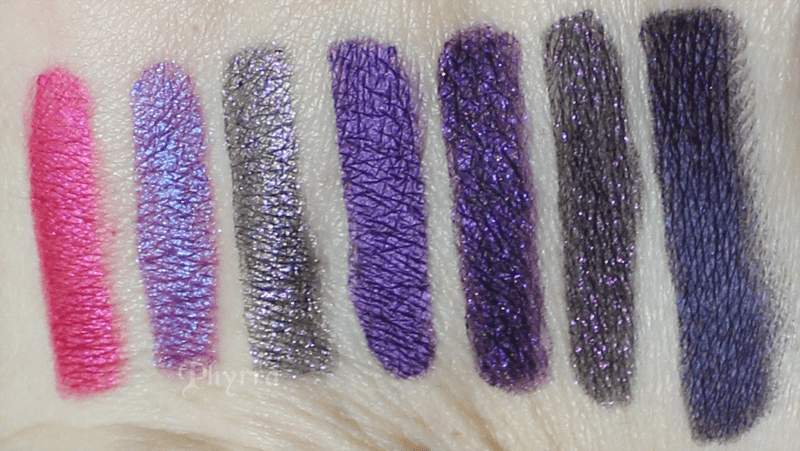 Urban Decay Woodstock, Asphyxia, Ether, Psychedelic Sister, Vice, Delinquent, Empire, Swatches, Comparison