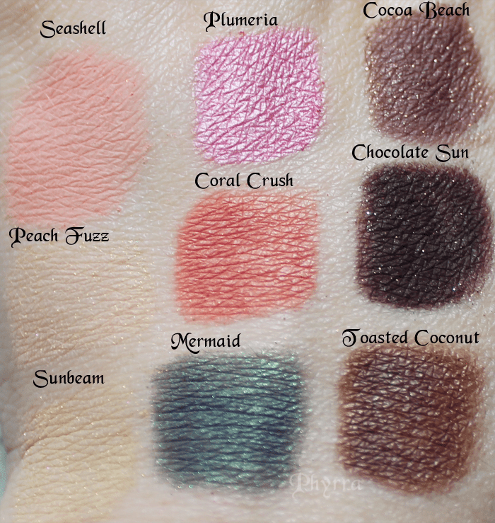 Too Faced Fashion Sunbeam Mermaid Toasted Coconut Swatches