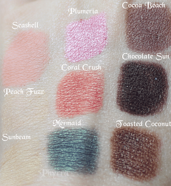 Too Faced Classic Peach Fuzz coral Crush Chocolate Sun Swatches