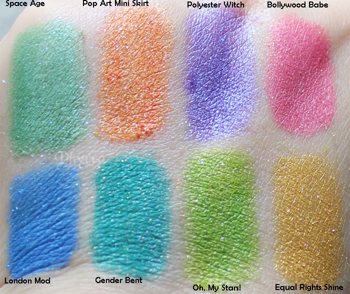 Fyrinnae, Space Age, Pop Art Mini Skirt, Polyester Witch, Bollywood Babe, It's A Mod World, London Mod, Gender Bent, Oh, My Stars!, Equal Rights shine, Swatches, Review