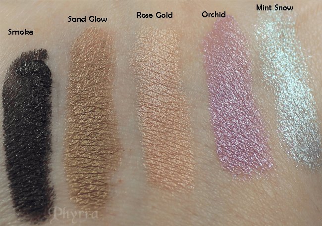 Laura Mercier Caviar Eye Stick Colours, Smoke, Sand Glow, Rose Gold, Orchid, Mint Snow, Swatches, Review, Tutorials