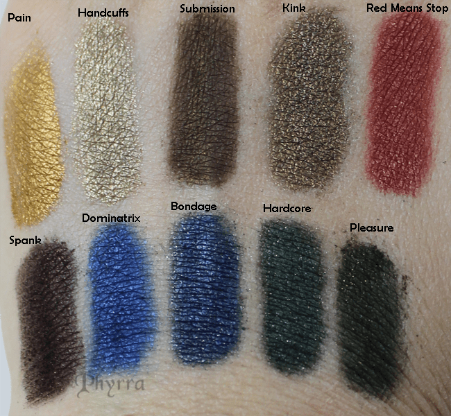 Meow Cosmetics, Shades of Meow, Volume 1, Pain, Handcuffs, Submission, Kink, Red Means Stop, Spank, Dominatrix, Bondage, Hardcore, Pleasure, Swatches, Review