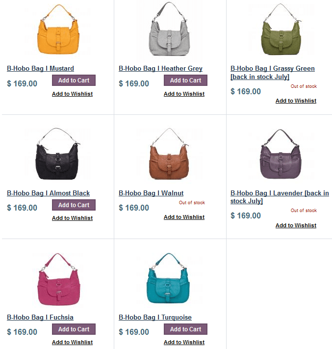 Kelly Moore B Hobo Bag Available colors