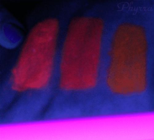 Stila After Glow Electric Pink, Vivid Violet, Tangerine Dream under Blacklight