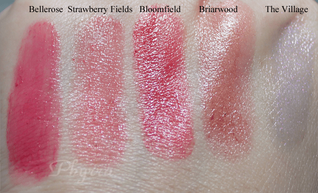Silk Naturals, Bellerose, Strawberry Fields, Bloomfield, Briarwood, The Village, Swatches, Review