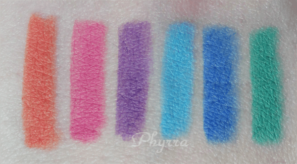 Inglot Colour Play Eyeliners, 201, 202, 203, 204, 205, 206, swatches