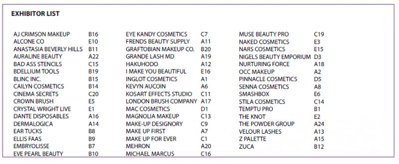 Makeup Show Chicago 2013 Exhibitor List