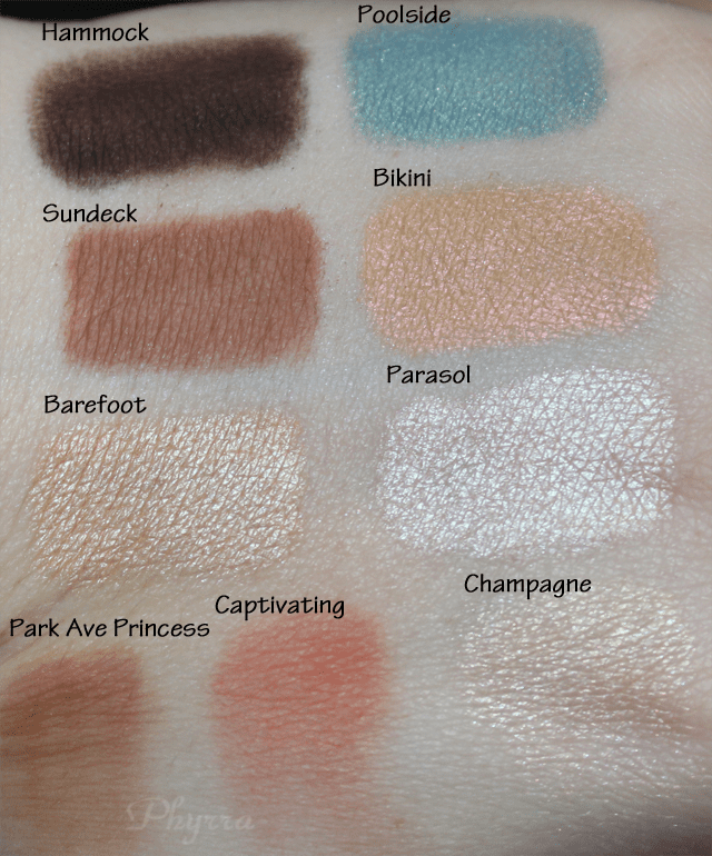 Aqualillies for tarte Amazonian clay waterproof eye and cheek palette swatches