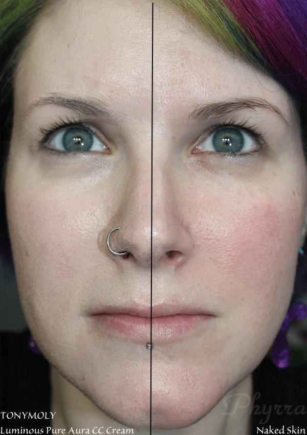 TONYMOLY Luminous Pure Aura CC Cream - half on my face