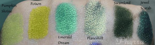 Femme Fatale Cosmetics Pumpkin Shrine, Poison, Emerald Dream, Planeshift, Swamplord, Jewel Scarab, swatches