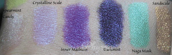 Femme Fatale Cosmetics Spearmint Candy, Crystalline Scale, Inner Madness, Darkmist, Naga Mask, Sandscale, swatches, review