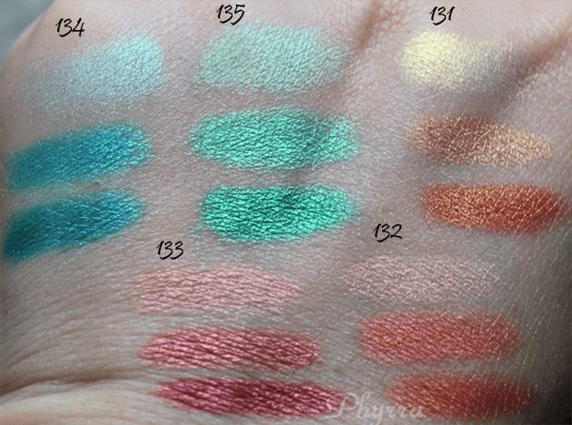 Inglot Satin Rainbow Eyeshadows 131, 132, 133, 134, 135 Swatches, Review