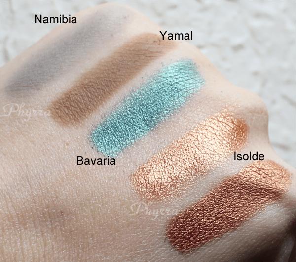 NARS Namibia, Yamal, Bavaria, Isolde Swatches