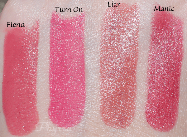 Urban Decay Revolution Lipsticks, Fiend, Turn On, Liar, Manic, Swatches Review