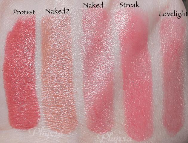 Urban Decay Revolution Lipsticks, Protest, Naked2, Naked, Streak, Lovelight, Swatches, Review
