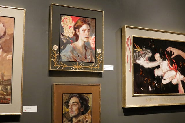 """Artwork credit: """"What Ought to Have Been a Red Rose Tree"""", """"Hatta"""", """"Fractured Singularity"""", and """"Youth's Disengagement"""". Oil on linen. Gail Potocki 2013"""