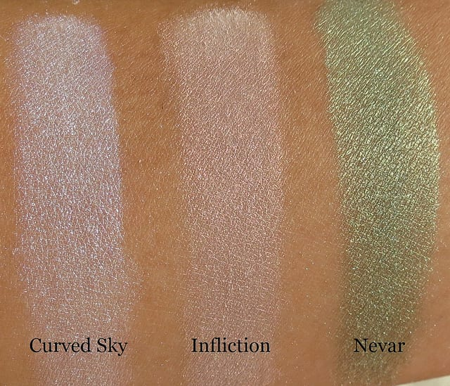 OCC Makeup Loose Colour Concentrates in Inflicted, Curved Sky and NEVAR