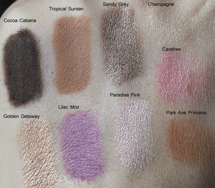 tarte coral crush palette, cocoa cabana, tropical suntan, sandy grey, golden getaway, lilac mist, paradise pink, champagne, carefree, park ave princess, swatches, review