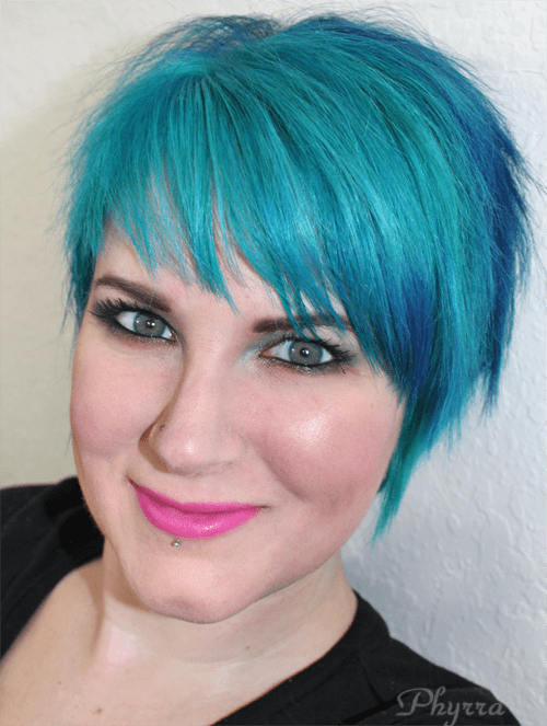 Manic Panic Atomic Turquoise Amplified Cream and After Midnight Blue styled