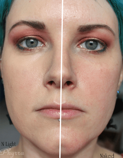 Cover FX CC Cream Time Release Tinted Treatment SPF 30 in N Light on Half of my Face