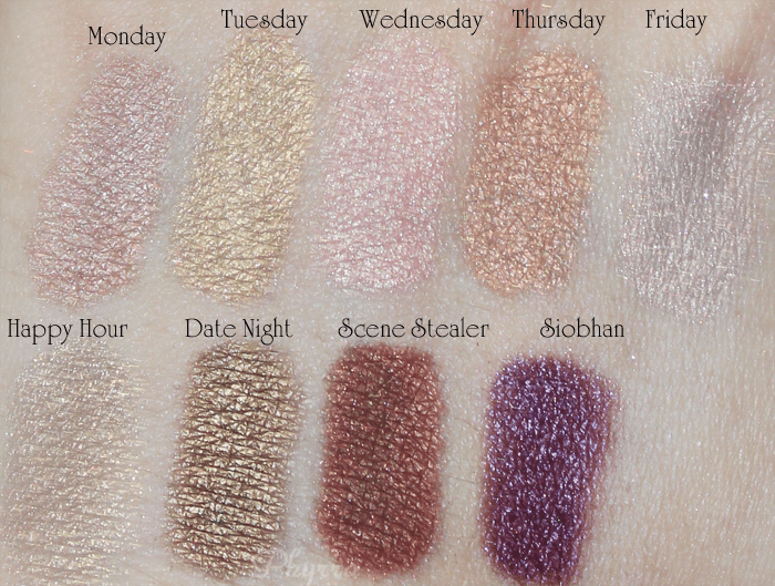 Silk Naturals, Monday, Tuesday, Wednesday, Thursday, Friday, Happy Hour, Date Night, Scene Stealer, Siobhan, Swatches, Review