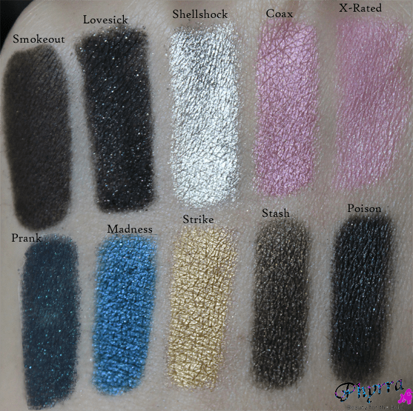 Urban Decay Smokeout, Lovesick, Shellshock, Coax, X-Rated, Prank, Madness, Strike, Stash, Poison, Swatches, Review