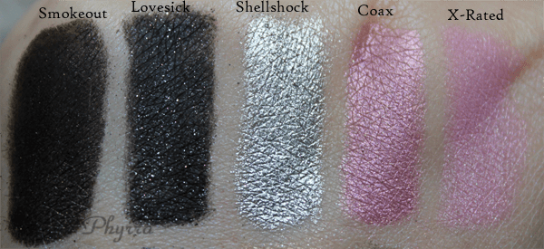 Urban Decay Smokeout, Lovesick, Shellshock, Coax, X-Rated, Review, Swatches