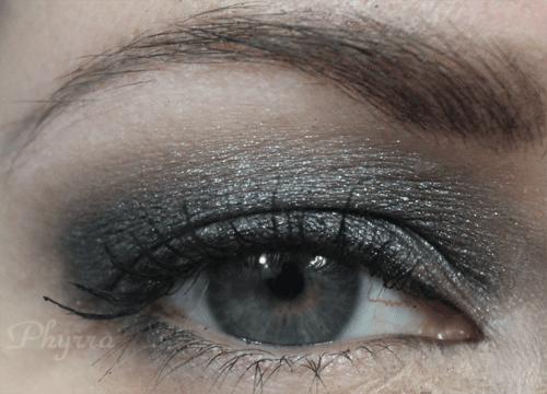 Wearing NARS Bad Behavior, grey shimmery eyeshadow